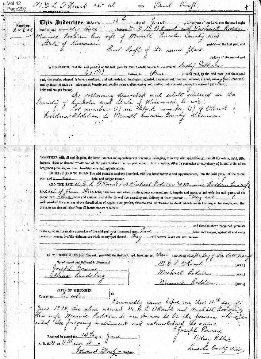 Proft genealogy paul proft sr paul purchased his 307 eugene st merrill wi lot may 1 1893 for 60 grantee volume 42 page 297 aiddatafo Gallery